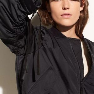 Vince Ruched-Sleeve Parachute Bomber Jacket  Sm